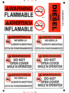 Vertical Equipment Label Kit - English/Spanish
